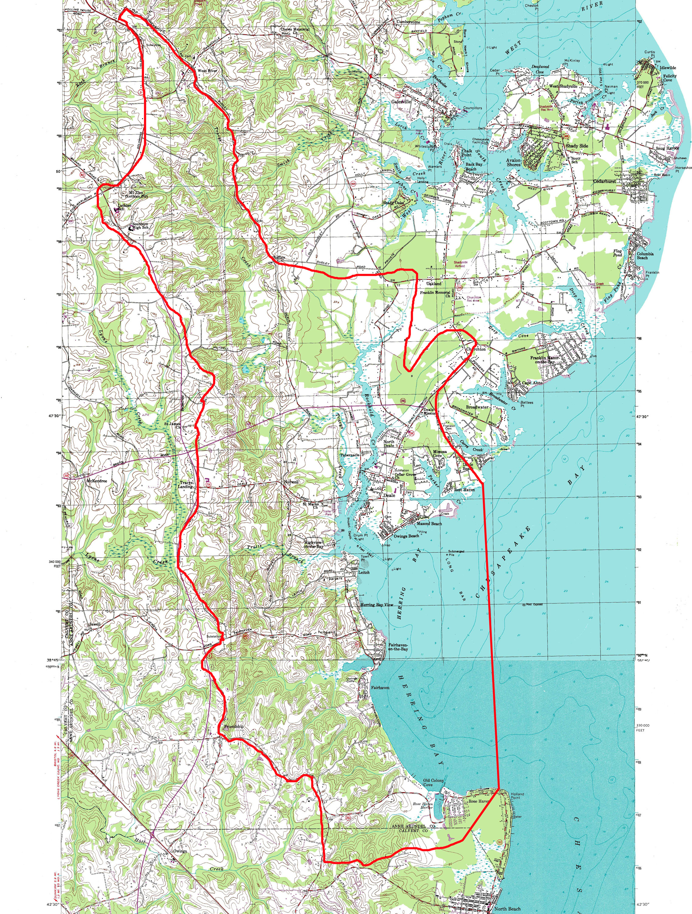Chesapeake Bay Topographic Map.Advocates For Herring Bay